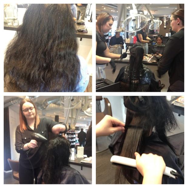 Dyktige ANITA fra Peaks Hair lærte oss teknikken i Frizz-out behandlingen. Her er det Mona som får prøve seg på modellen.